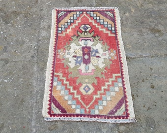 Turkish Rug 34 x 19 inches  Oushak Rug Muted Color Rug  Cappadocia Rug Pink Rug Runner Rug Anatolian Rug Carpet