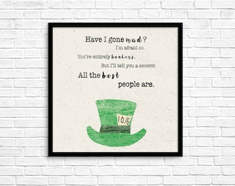 Alice In Wonderland, Mad Hatter, Home Decor, Digital Download
