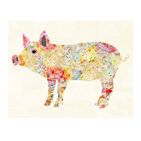Pigs Piglet Art Colorful Farm Animals Wall Art Kitchen