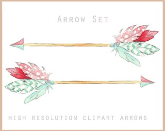 Feather Arrow Clipart Set - Watercolor digital illustrations in high quality resolution