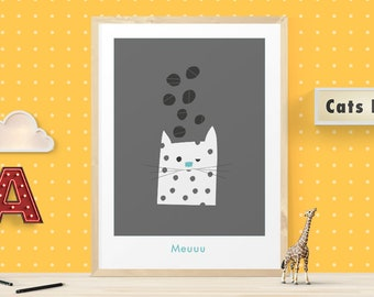 Cat poster for kids, Cat print, Cat art, Cat print wall art, Cat illustration for kids, Playroom art for children, Kids print for room