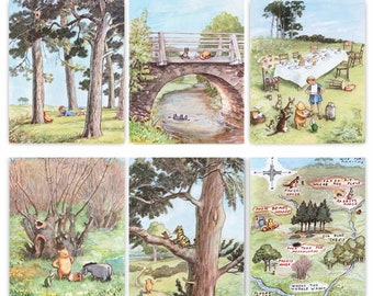"Winnie the Pooh Prints (Boys Room Decor, Girls Nursery Wall Art, Gender Neutral Artwork, Baby Shower Gift) ""Winnie's Forest"" - Set of 6 SALE"