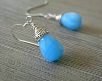 Blue Glass Sterling Silver Earrings Wire Wrapped Earrings
