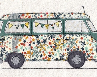 Print of original textile artwork 'Starry Camper'. Machine free motion embroidery. VW Camper van with stars and bunting. Liberty fabric.