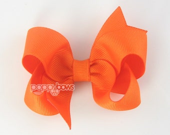 Orange Hair Bow - Baby Toddler Girl - Solid Color 3 Inch Boutique Bow on Alligator Clip Barrette