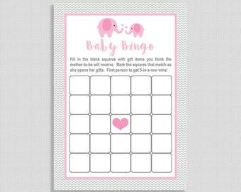 Elephant Baby Shower Bingo Cards, Pink Elephant Grey Chevron Baby Game, Baby Girl,  INSTANT DOWNLOAD