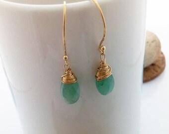 Green Agate Earrings, 14K Gold Filled, Agate Earrings Dangle Earrings Agate Drop Earrings Delicate Jewelry, Handmade Gemstone Jewelry