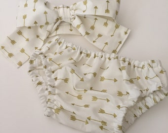 Diaper Cover | Baby Girl | Girl Diaper Cover | Bloomers | Baby girl Clothes | Baby Headwrap | Gold Arrows