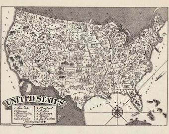 50's Vintage UNITED STATES Picture Map Pictorial United States Print Poster Black and White Gallery Wall Art usa Map Gift for Birthday