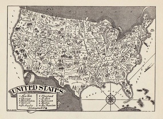 50s Vintage UNITED STATES Picture Map Pictorial United
