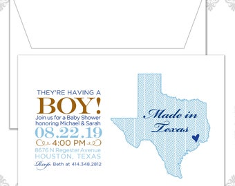 State Baby Shower Invites (available in all states), State Invite, Texas Baby shower Invitation, Custom State Shower Invite, Texas baby