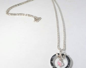 NEW Handmade heart and circle LOVE necklace