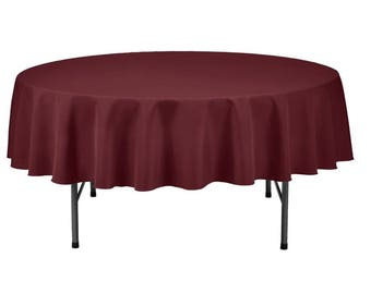 Burgundy Round Wedding Linentablecloth 70 Inch Round Banquet Polyester  Cloth, Wrinkle Resist Quality Tablecloth For Special Events Or Party