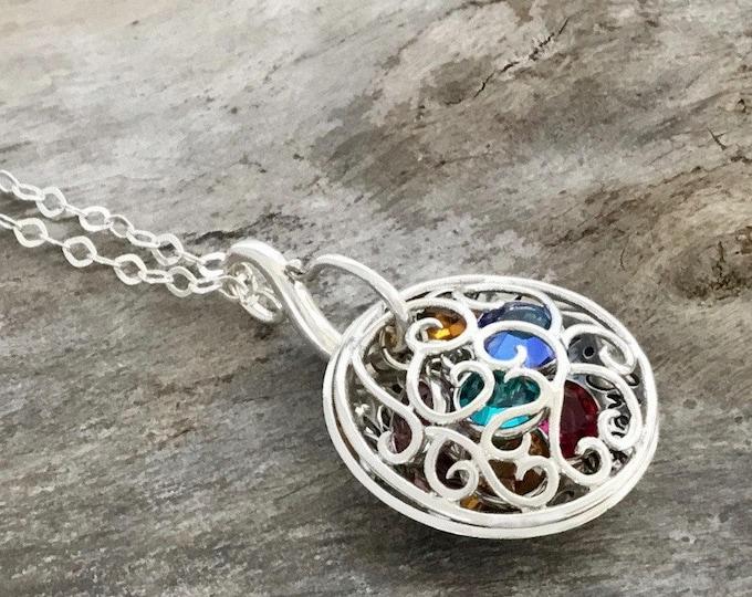 Birthstone necklace personalized | Birthstone necklace for Mom | Sterling Silver | Mom Birthstone Necklace | Birthstone Filigree Locket