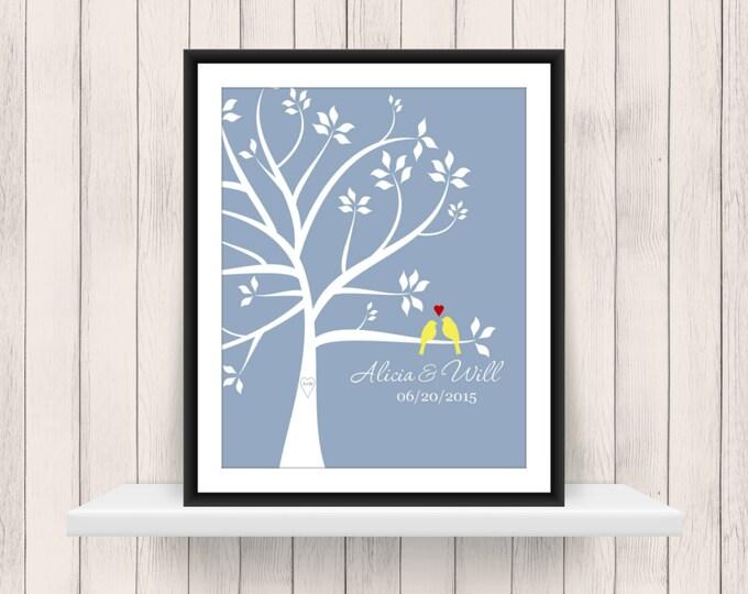 Wedding Tree Love Birds 8x10 Print - Wedding Gift - Bridal Shower Gift