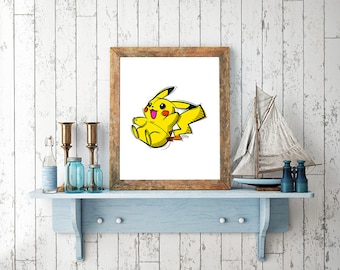 Pikachu Pokemon Digital Drawing, Digital Print, Decoration, Nintendo Art, Games Art, Videogames Illustration