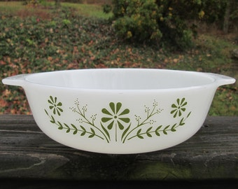 Vintage Round Glass Casserole Dish - Green and White Bakeware