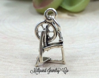 Spinning Wheel Charm, Spinning Wheel Pendant, Antique Spinning Wheel Charm, Sterling Silver Charm, Sterling Silver Pendant