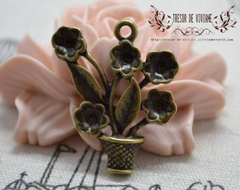 Set of 6 QZW015 m charm, Bronze, flowers