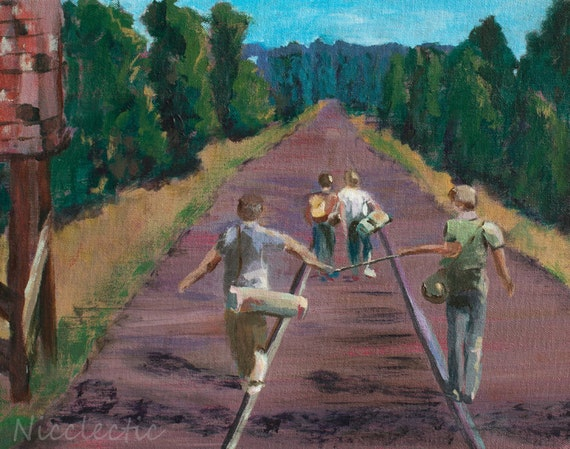 Stand By Me, 80s movies, best friends, friendship, boys walking down railroad tracks, River Phoenix, boys bedroom decor, 1980s, outdoors