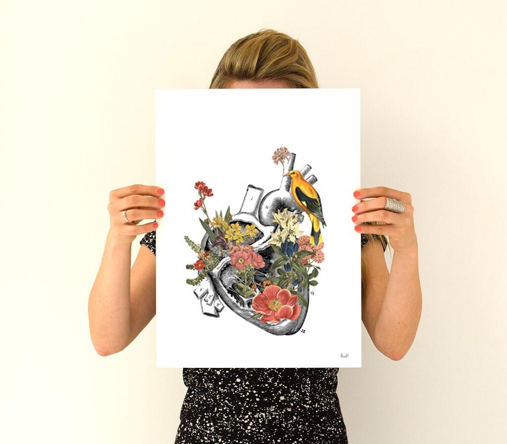 Flowery Heart with yellow bird, anatomical art, anatomy art, wall ...