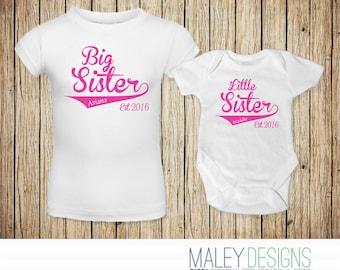Big Sister Little Sister Outfits, Matching Sister Shirts, Matching Sister Outfits, Tshirts for Sisters, Baseball Sister Shirt, Set of Two