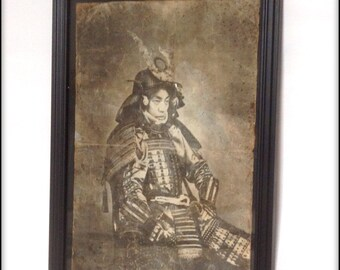 Samurai hand aged reproduction print in frame.