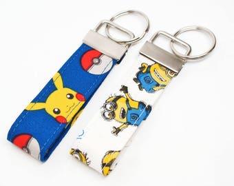 Chracker FOB - Pokemon, Minion Key Chain / Key Fob / Wristlet - Choose Your Fabric and lenght