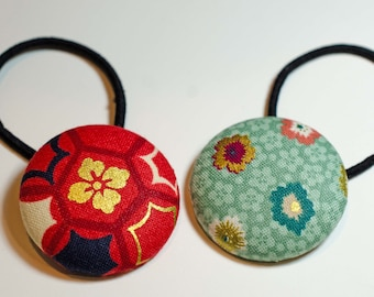 Fabric Button Hair Tie-  = Craft Button = Pony Tail Holder  = Fabric Sewing Button Lg - Childrens Hair Tie - 1 1/2""