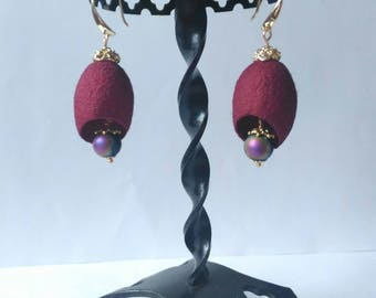 Silk cocoons earrings Burgundy earrings Silk cocoons jewelry