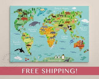 Kids world map etsy childrens world map print world map on canvas nursery wall art kids map gumiabroncs Image collections