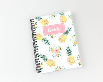 Writing journal, soft cover, book, blank spiral notebook, sketchbook, paper for notes, custom - pineapple and flowers watercolor pattern