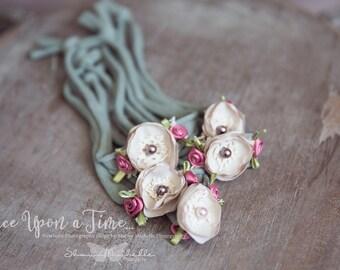 Newborn Sage, pink, and cream Tieback