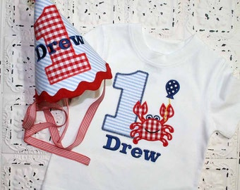 Boys or Girls Crab Birthday Applique SHIRT and HAT Free Personalization-- All birthday numbers are available