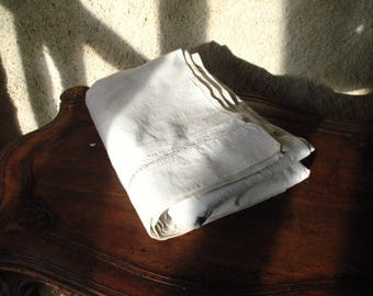 Vintage French linen sheet with simple drawn thread work.