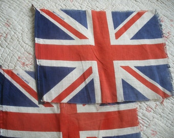 2 small vintage Union Jack flags, made in Britain