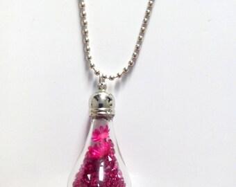 Globe bulb dried flower and pink glass rhinestones