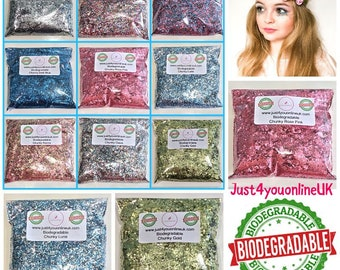 Biodegradable Glitter Chunky Cosmetic Eco Friendly Glitter Makeup Bulk 15g, 25g, 50g, 75g, 100g Bags Bio Blue Silver Gold