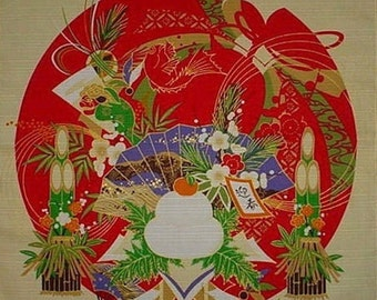 Small Size Cotton 'Oshogatsu Mochi' New Year's Motif Furoshiki Japanese Fabric w/Free Insured Shipping