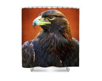 Eagle Shower Curtain, Gift for Him, Golden Eagle, Eagle Decor, Gift for Birder, Raptors, Nature Shower Curtain, Brown Shower Curtain