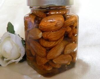 Gourmet Gift,  Raw Honey & Almonds, Victorian Square Jar