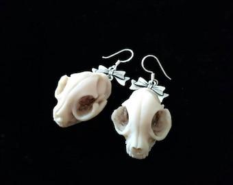 Cat Skull Earrings Sterling Silver Gothic Victorian Jewelry, Animals skull jewelry, Cat earrings, Skeleton, Cat jewelry, Rockabilly Earrings