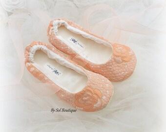Girl Ballet Slippers, Peach, Blush, Gold, Flower Girl Shoes, Ballet Flats, Birthday Shoes, Prom, Bat Mitzvah, Ballet Slippers, Elegant Flats