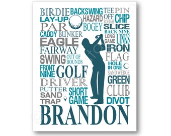 Golf Typography Poster, Golfer Art, Golf Name Art, Golf Gift, Golfer Gift, Golf Canvas, Golf Art Print, Personalized Golf Art, Golf Gifts