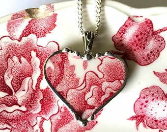 English Chippendale, broken china jewelry, heart pendant necklace, red English transferware, Dishfunctional Designs broken china jewelry