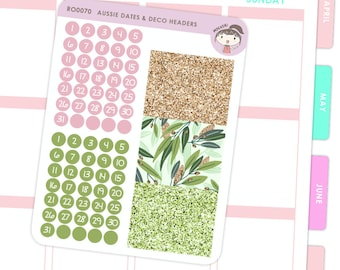 Dates and Glitter Header Stickers - Australian / Planner Stickers