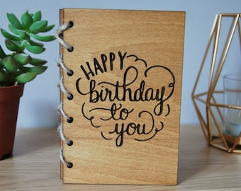 Wooden Card Birthday Card Personalised Wooden Engraved Card Rustic Woodland Hipster Celebration Card