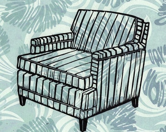 Mid-Century Modern Chair on a Blue Vintage Fabric Linocut Background
