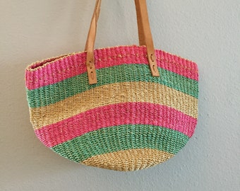 Colorful Woven Sisal Market Bag Made in Philippines