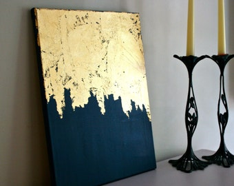 Gold Leaf Painting | Modern Art | Acrylic Painting | Gift for Her | Abstract Painting | Gold Foil Art  | Blue and Gold Painting |